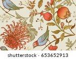 vintage japanese chrysanthemum... | Shutterstock . vector #653652913