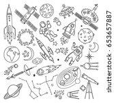 doodle different universe... | Shutterstock .eps vector #653657887