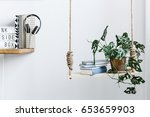 wooden swing with books and... | Shutterstock . vector #653659903