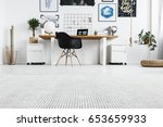 spacious hipster home office... | Shutterstock . vector #653659933