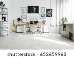 spacious white home office... | Shutterstock . vector #653659963