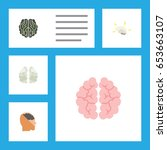 flat intelligence set of... | Shutterstock .eps vector #653663107