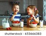 happy children girl and boy... | Shutterstock . vector #653666383