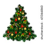 christmas tree with balls ... | Shutterstock .eps vector #65366860