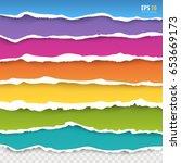 torn paper edges vector  blue ... | Shutterstock .eps vector #653669173