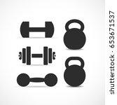 dumbbells and kettlebells... | Shutterstock .eps vector #653671537