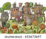 watercolor cartoon houses and... | Shutterstock . vector #653673697