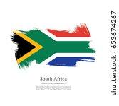 flag of south africa  brush... | Shutterstock .eps vector #653674267