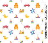 seamless pattern with cute... | Shutterstock . vector #653689267