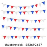 red blue white flag decorated... | Shutterstock .eps vector #653692687
