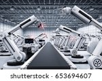 3d rendering robot arms with... | Shutterstock . vector #653694607
