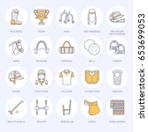 horse polo flat line icons.... | Shutterstock .eps vector #653699053