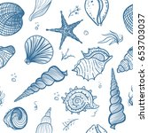 seashells seamless pattern.... | Shutterstock .eps vector #653703037