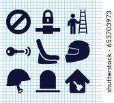 set of 9 safety filled icons... | Shutterstock .eps vector #653703973