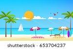 flat vector design of beach... | Shutterstock .eps vector #653704237