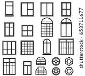 set of black window icons... | Shutterstock . vector #653711677