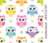 pattern with cute colorful owls ... | Shutterstock . vector #653711707