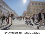 busy pedestrian crossing over... | Shutterstock . vector #653723323
