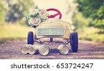 honeymoon car  pedal car with... | Shutterstock . vector #653724247