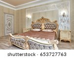 bedroom with a beautiful... | Shutterstock . vector #653727763