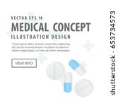banner capsules medicine and... | Shutterstock .eps vector #653734573