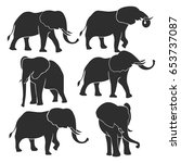 Set Of Elephant Silhouettes