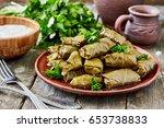 dolma tolma  sarma    stuffed... | Shutterstock . vector #653738833