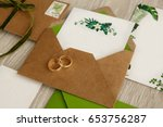 wedding rings on invitations... | Shutterstock . vector #653756287