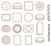cookie  cracker and biscuit... | Shutterstock .eps vector #653757373