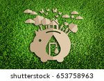 save water concept. paper cut... | Shutterstock . vector #653758963