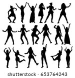 silhouette  girl dancing  ... | Shutterstock . vector #653764243