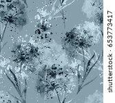 imprints dry flowers seamless... | Shutterstock . vector #653773417