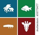 fauna icons set. set of 4 fauna ... | Shutterstock .eps vector #653773477