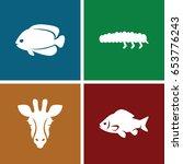 fauna icons set. set of 4 fauna ... | Shutterstock .eps vector #653776243