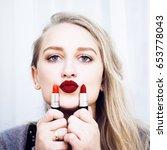beautiful young blond woman...   Shutterstock . vector #653778043