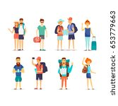 people and couples travel ling. ... | Shutterstock .eps vector #653779663