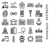 city icons set. set of 25 city... | Shutterstock .eps vector #653786293