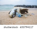 Small photo of Dead turtle among plastic garbage from ocean on the beach