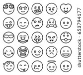 emoticon icons set. set of 25... | Shutterstock .eps vector #653794177