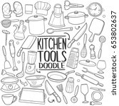 Kitchen Tools Doodle Icons Han...