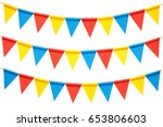 colorful paper bunting party... | Shutterstock . vector #653806603