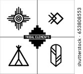 aztec tribal elements icons | Shutterstock .eps vector #653808553