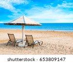 cloudy sky and sea. sea summer... | Shutterstock . vector #653809147