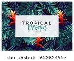 floral horizontal postcard... | Shutterstock .eps vector #653824957