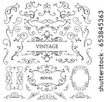 vector set of vintage swirls ... | Shutterstock .eps vector #653845363