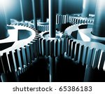 industrial close up image of  bearings and gear - stock photo