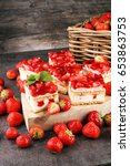 strawberry cake and many fresh... | Shutterstock . vector #653863753