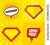 superhero logo  pop art... | Shutterstock .eps vector #653881453