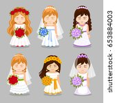 set of beautiful brides with...   Shutterstock .eps vector #653884003