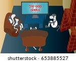 watching tv a bunch of dogs... | Shutterstock .eps vector #653885527